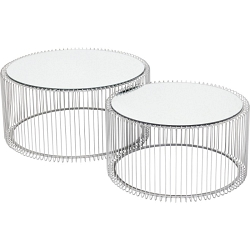 TABLE BASSE WIRE ARGENT